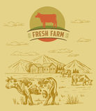 Cow and farm. Vector color cow and farm doodle on background Royalty Free Stock Photo