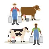 Cow and farmer holding big milk container pot. Illustration Stock Illustration