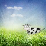 Cow in the field. Funny cow in the sunny meadow illustration Royalty Free Stock Photos