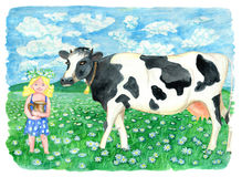 Cow on the field and beautiful blonde girl holding jar of milk. Vintage rural background with summer landscape, watercolor illustration with design graphic Royalty Free Stock Photography