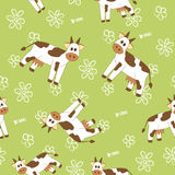Cow on a field seamless pattern. Cow on a green field seamless pattern Stock Photo