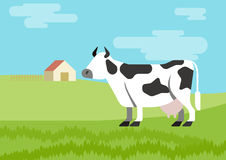 Cow flat design cartoon vector farm animals habitat. Cow spotted farm habitat background flat design cartoon vector animals. Flat zoo nature children collection Royalty Free Stock Images