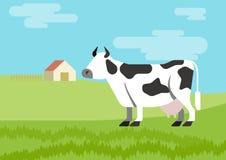 Cow flat design cartoon vector farm animals habitat. Cow spotted farm habitat background flat design cartoon vector animals. Flat zoo nature children collection Stock Illustration