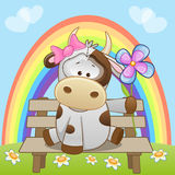Cow with flower Stock Photography