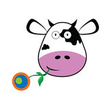 Cow with a flower in her mouth vector Stock Photos