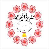 A cow in a flower wreath royalty free illustration