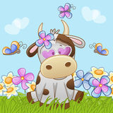 Cow with flowers Royalty Free Stock Image