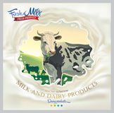 Cow, in frame from splash milk. Cow, in frame from splash of milk against the background of a rural landscape. Vector illustration Stock Image