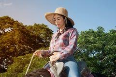 Cow-girl assez asiatique de femme montant un cheval dehors dans une ferme Images stock
