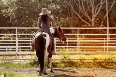 Cow-girl assez asiatique de femme montant un cheval dehors dans une ferme Photographie stock libre de droits