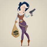 Cow-girl avec le canon personnage de dessin animé drôle Photos libres de droits
