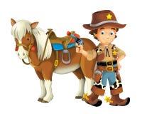 Cow-girl - cowboy - ouest sauvage - illustration pour les enfants Photo stock