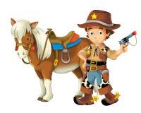 Cow-girl - cowboy - ouest sauvage - illustration pour les enfants Images stock