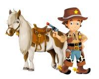 Cow-girl - cowboy - ouest sauvage - illustration pour les enfants Photographie stock
