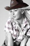 Cow-girl de rodéo dans le chapeau de cowboy Photographie stock