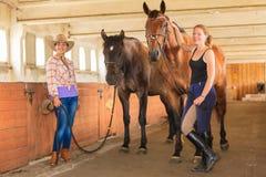 Cow-girl et jockey marchant avec des chevaux dans l'écurie Photographie stock libre de droits