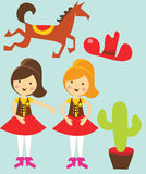 Cow Girl Graphics. Cow girl with some supportive graphics including cowboy hat a cactus and a horse Stock Image