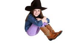 Cow-girl mignonne avec un grand sourire et des dents avant de disparus Images stock