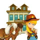 Cow-girl ou cowboy - ouest sauvage - illustration pour les enfants Photo libre de droits