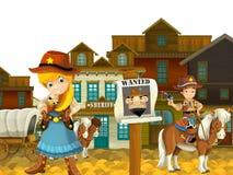 Cow-girl ou cowboy - ouest sauvage - illustration pour les enfants Images stock