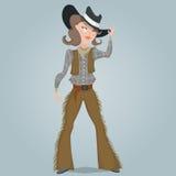 Cow-girl personnage de dessin animé drôle Photographie stock