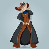 Cow-girl personnage de dessin animé drôle Images libres de droits