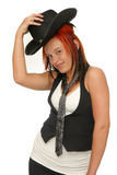Cow-girl rouge de cheveu Photos libres de droits
