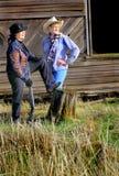 Cow-girls de manieur de pistolet de pays Photos stock