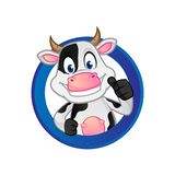 Cow_giving thum up inside circle. Cow cartoon illustration can be download in vector format for unlimited image size vector illustration
