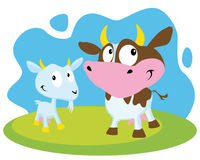 Cow and goat. On abstract grass and sky royalty free illustration