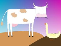Cow and goose Royalty Free Stock Photography