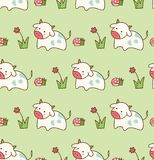 Cow in the grass with flower and mushroom seamless pattern stock illustration