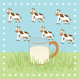 Cow, grass and milk in the glass Royalty Free Stock Images