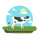 Cow graze in a field. Vector flat style illustration of cow graze in a field. Good sunny day. Nature background stock illustration