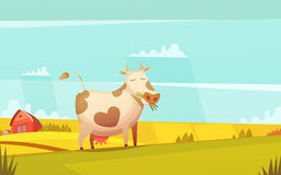 Cow Grazing On Farmland Cartoon Poster Stock Photo