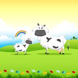 Cow grazing in field. Illustration of cow grazing in field in sunny morning Stock Photography