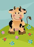 Cow grazing in the meadow. Cow grazing in the flower meadow Stock Images