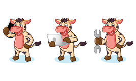 Cow and Hair Mascot with laptop Stock Images