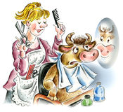 Cow in hairdressing salon royalty free illustration