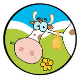 Cow head chewing on a flower Royalty Free Stock Image