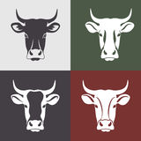 Cow. Head labels set.  head portrait, set of stylized vector symbols Royalty Free Stock Images
