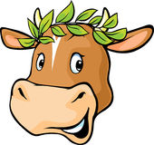 Cow head with a laurel wreath Royalty Free Stock Photos