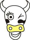 Cow head. My illustration of a cow head blinking with an eye Royalty Free Stock Images