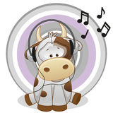 Cow with headphones. Cute cartoon Cow with headphones Stock Images
