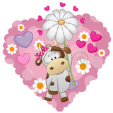 Cow with hearts and flower. Greeting card Cow with hearts and flower royalty free illustration
