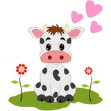 Cow with hearts and flowers royalty free stock photo