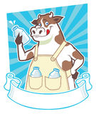 Cow holding a bottle of milk. Vector of cow holding a bottle of milk, complete with blank ribbon Stock Photos