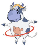 A cow and a hula hoop. Cartoon Stock Images