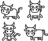 Cow icon. 4 set. Stock Photography