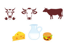 Cow icon and milk products. Logo with cow, logo for milk and meat products. Icons cow. Set of icons. Collection of natural icons. Products from cows Stock Photos